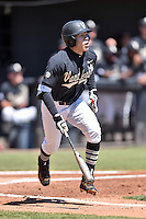 Vanderbilt Commodores right fielder Jeren Kendall (3) hits a home run during a game agains against the Tennessee Volunteers at Lindsey Nelson Stadium on April 24, 2016 in Knoxville, Tennessee. The Volunteers defeated the Commodores 5-3. (Tony Farlow/Four Seam Images)