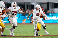LOS ANGELES, CA - SEPTEMBER 11: Walter Rouse, Tanner McKee during a game between University of Southern California and Stanford Football at Los Angeles Memorial Coliseum on September 11, 2021 in Los Angeles, California.