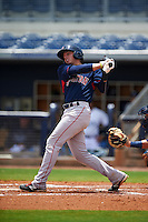 GCL Red Sox outfielder Trent Kemp (43) at bat during the second game of a doubleheader against the GCL Rays on August 4, 2015 at Charlotte Sports Park in Port Charlotte, Florida.  GCL Red Sox defeated the GCL Rays 2-1.  (Mike Janes/Four Seam Images)