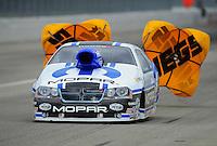Feb. 12, 2012; Pomona, CA, USA; NHRA pro stock driver Allen Johnson during the Winternationals at Auto Club Raceway at Pomona. Mandatory Credit: Mark J. Rebilas-