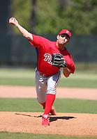 March 30, 2010:  Pitcher Jordan Ellis of the Philadelphia Phillies organization during Spring Training at the Carpenter Complex in Clearwater, FL.  Photo By Mike Janes/Four Seam Images