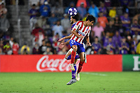 Orlando, FL - Wednesday July 31, 2019:  Manu Sánchez #35, Graham Zusi #28 during the Major League Soccer (MLS) All-Star match between the MLS All-Stars and Atletico Madrid at Exploria Stadium.