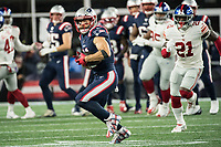 FOXBORO, MA - OCTOBER 10: New England Patriots Wide Receiver Julian Edelman (11) during a game between New York Giants and New England Patriots at Gillettes on October 10, 2019 in Foxboro, Massachusetts.