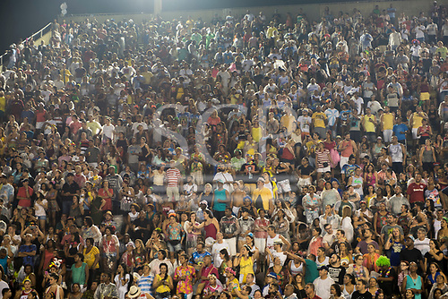 Imperatriz Leopolinense Samba School, Carnival, Rio de Janeiro, Brazil, 26th February 2017. The audience in the stands watches the parade.