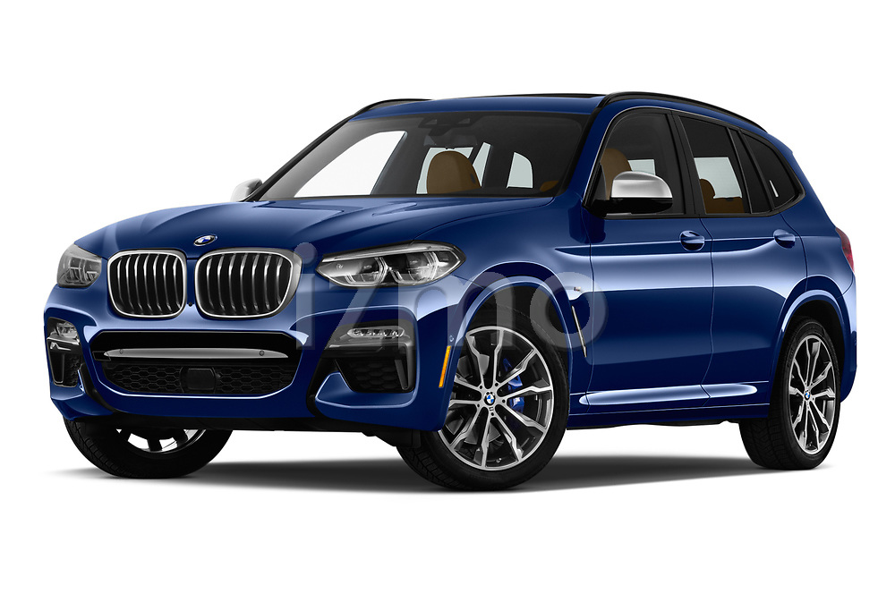 Stock pictures of low aggressive front three quarter view of a 2019 BMW X3 M40i 5 Door SUV