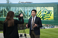 USUAA President Geser Bat-Erdene is interviewed by a local television news crew about UAA's new virtual campus tour.