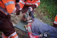 Michael Vanthourenhout (BEL/Sunweb-Napoleon Games) is put on a stretcher and taken to hospital for checkup after he crashed into the barriers<br /> <br /> Duinencross Koksijde WorldCup 2015
