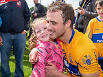 Patrick O Connor of Clare is congratulated by his daughter Ellie following their Munster championship game against Limerick in Ennis. Photograph by John Kelly.