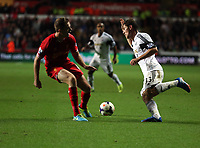 Pictured: Ben Davies of Swansea (R).<br /> Monday 16 September 2013<br /> Re: Barclay's Premier League, Swansea City FC v Liverpool at the Liberty Stadium, south Wales.