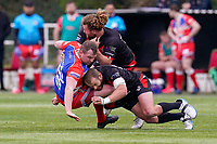 Olsi KRASNIQI (8) of London Broncos and Rhys CURRAN (12) of London Broncos make the tackle during the Betfred Challenge Cup Round One match between London Broncos and Keighley Cougars at The Rock, Rosslyn Park, London, England on 20 March 2021. Photo by David Horn.