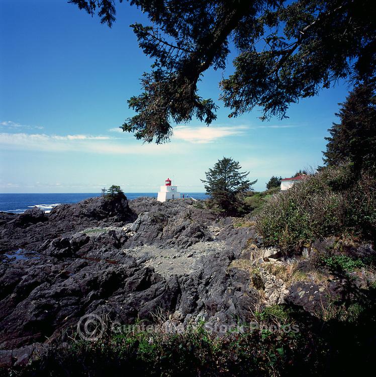 Amphitrite Point Lighthouse near Ucluelet, BC, on West Coast of Vancouver Island, British Columbia, Canada, Sunset