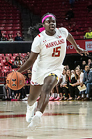 COLLEGE PARK, MD - FEBRUARY 03: Ashley Owusu #15 of Maryland dribbles forwrd during a game between Michigan State and Maryland at Xfinity Center on February 03, 2020 in College Park, Maryland.