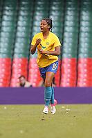 RENATA COSTA of Brazil celebrates scoring the second goal for ther team - Brazil Women vs Cameroon Women - Womens Olympic Football Tournament London 2012 Group E at the Millenium Stadium, Cardiff, Wales - 25/07/12 - MANDATORY CREDIT: Gavin Ellis/SHEKICKS/TGSPHOTO - Self billing applies where appropriate - 0845 094 6026 - contact@tgsphoto.co.uk - NO UNPAID USE.