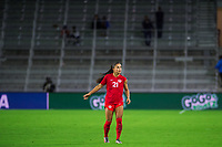ORLANDO, FL - FEBRUARY 21: Jordyn Listro #21 of the CANWNT waiting for the ball during a game between Argentina and Canada at Exploria Stadium on February 21, 2021 in Orlando, Florida.