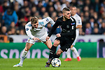 Marco Verratti (R) of Paris Saint Germain fights for the ball with Toni Kroos of Real Madrid during the UEFA Champions League 2017-18 Round of 16 (1st leg) match between Real Madrid vs Paris Saint Germain at Estadio Santiago Bernabeu on February 14 2018 in Madrid, Spain. Photo by Diego Souto / Power Sport Images