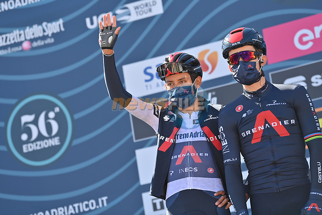 Egan Bernal (COL) Ineos Grenadiers wearing the Maglia Bianca at sign on before the start of Stage 6 of Tirreno-Adriatico Eolo 2021, running 169km from Castelraimondo to Lido di Fermo, Italy. 15th March 2021. <br /> Photo: LaPresse/Gian Mattia D'Alberto | Cyclefile<br /> <br /> All photos usage must carry mandatory copyright credit (© Cyclefile | LaPresse/Gian Mattia D'Alberto)