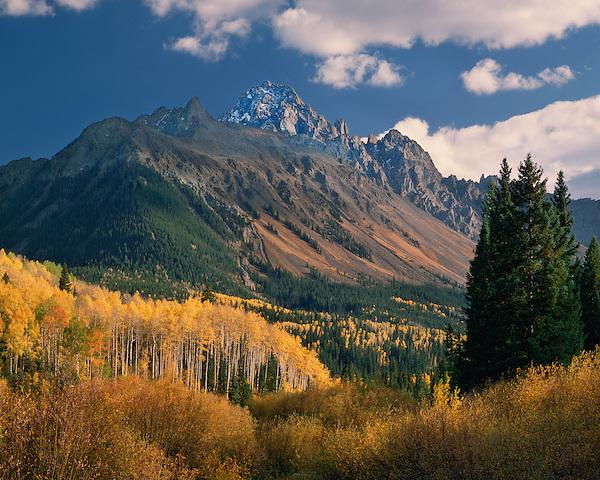 Mount Sneffels (14,150 Feet) with Aspen trees, Telluride, Colorado, USA. John offers autumn photo tours throughout Colorado.