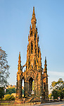 The monument to the great Scottish novelist Sir Walter Scott, located on Princes Street in Edinburgh, in early morning