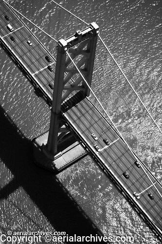 aerial photograph of the San Francisco Oakland Bay Bridge