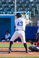 Casey Gillaspie (43) of the Hudson Valley Renegades at bat against the Brooklyn Cyclones at Dutchess Stadium on June 18, 2014 in Wappingers Falls, New York.  The Cyclones defeated the Renegades 4-3 in 10 innings.  (Brian Westerholt/Four Seam Images)