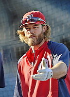 20 September 2012: Washington Nationals outfielder Jayson Werth awaits his turn in the batting cage prior to a game against the Los Angeles Dodgers at Nationals Park in Washington, DC. The Nationals defeated the Dodgers 4-1, clinching a playoff birth: the first time for a Washington franchise since 1933. Mandatory Credit: Ed Wolfstein Photo