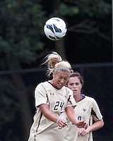Boston College forward Rachel Davitt (24) heads the ball. After two overtime periods, Boston College tied University of Central Florida, 2-2, at Newton Campus Field, September 9, 2012.