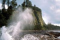 Haida Gwaii (Queen Charlotte Islands), Northern BC, British Columbia, Canada - Waves crashing at Tow Hill and North Beach along McIntyre Bay, Naikoon Provincial Park, Graham Island - Agate Beach in Distance