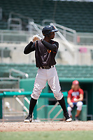 GCL Orioles second baseman Carlos Baez (1) at bat during a game against the GCL Red Sox on August 9, 2018 at JetBlue Park in Fort Myers, Florida.  GCL Red Sox defeated GCL Orioles 10-4.  (Mike Janes/Four Seam Images)