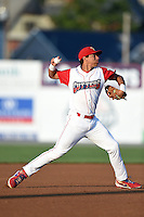 Williamsport Crosscutters third baseman Jan Hernandez (11) throws to first during a game against the Aberdeen IronBirds on August 4, 2014 at Bowman Field in Williamsport, Pennsylvania.  Aberdeen defeated Williamsport 6-3.  (Mike Janes/Four Seam Images)