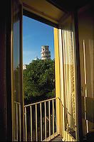Hotel room with view of the Leaning Tower, Pisa, Italy