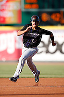 May 30, 2009:  Shortstop Carlos Rivero of the Akron Aeros during a game at Jerry Uht Park in Erie, PA.  The Aeros are the Double-A Eastern League affiliate of the Cleveland Indians.  Photo By Mike Janes/Four Seam Images