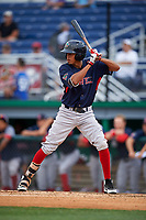 Lowell Spinners Ricardo Cubillan (44) at bat during a NY-Penn League game against the Batavia Muckdogs on July 11, 2019 at Dwyer Stadium in Batavia, New York.  Batavia defeated Lowell 5-2.  (Mike Janes/Four Seam Images)