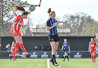 Constance Brackman (20) of Standard  pictured in a headingduel with Marie Minnaert (13) of Club Brugge during a female soccer game between Club Brugge Dames YLA and Standard Femina de Liege on the 17 th matchday of the 2020 - 2021 season of Belgian Scooore Womens Super League , saturday 20 March 2021  in Brugge , Belgium . PHOTO SPORTPIX.BE   SPP   DAVID CATRY
