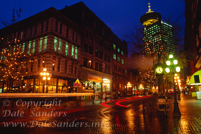 Steam Clock in Gastown at dusk, Vancouver, British Columbia, Canada.