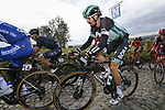 Daniel Oss (ITA) Bora-Hansgrohe climbs the Koppenberg during the Tour of Flanders 2020 running 244km from Antwerp to Oudenaarde, Belgium. 18th October 2020.  <br /> Picture: Bora-Hansgrohe/Nico Vereecken/PN/BettiniPhoto   Cyclefile<br /> <br /> All photos usage must carry mandatory copyright credit (© Cyclefile   Bora-Hansgrohe/Nico Vereecken/PN/BettiniPhoto)