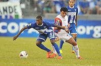 Juan Carlos Garcia (6) of Honduras goes against Michael Barrantes (11) of Costa Rica. Honduras defeated Costa Rica 1-0 at the quaterfinal game of the Concacaf Gold Cup, M&T Stadium, Sunday July 21 , 2013.