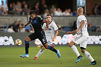 SAN JOSE, CA - SEPTEMBER 25: Danny Hoesen #9 of the San Jose Earthquakes is defended by Kai Wagnerv #27 and Aurelien Collin #78 of the Philadelphia Union during a Major League Soccer (MLS) match between the San Jose Earthquakes and the Philadelphia Union on September 25, 2019 at Avaya Stadium in San Jose, California.