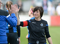 20180414 - AALTER , BELGIUM : Brugge's head coach Ingrid De Rycke pictured during the 21st matchday in the 2e Nationale Women's league , a womensoccer game between Club Brugge Dames and GFA Sinaai , in Aalter , saturday 15 th April 2018 . PHOTO SPORTPIX.BE   DAVID CATRY