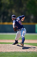 Minnesota Twins Tom Hackimer (59) during a minor league Spring Training game against the Baltimore Orioles on March 17, 2017 at the Buck O'Neil Baseball Complex in Sarasota, Florida.  (Mike Janes/Four Seam Images)