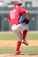 Philadelphia Phillies pitcher Robert Cooper #61 during an Instructional League game against the Pittsburgh Pirates at Pirate City on October 11, 2011 in Bradenton, Florida.  (Mike Janes/Four Seam Images)