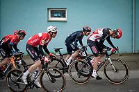 Kasper Asgreen (DEN/Deceuninck - Quick Step) in Brent Van Moer's (BEL/Lotto Soudal) wake up the Valkenberg<br /> <br /> 105th Ronde van Vlaanderen 2021 (MEN1.UWT)<br /> <br /> 1 day race from Antwerp to Oudenaarde (BEL/264km) <br /> <br /> ©kramon