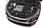 Car Stock a 2015 Toyota Highlander Limited Hybrid 4x4 5 Door SUV Engine high angle detail view