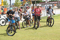 RIDE 'ROUND RAILYARD LOOP<br />Bikers gather on  Saturday July 17 2021 at the check-in area for a ride at the Rogers Bike Festival headquartered at Railyard Park downtown. The festival featured road-bike rides on the 15-mile Raillyard Loop that circles the city and mountain bike rides at Lake Atalanta Park east of downtown. Vendors set up tents to show their wares near Railyard Park's Butterfield Stage, where a concert by The Uncrowned Kings took place after the riding was through. Go to nwaonline.com/210718Daily/ to see more photos.<br />(NWA Democrat-Gazette/Flip Putthoff)