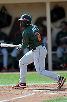 University of Miami Hurricanes outfielder Chantz Mack #2 during a game versus the Boston College Eagles at Shea Field in Chestnut Hill, Massachusetts on April 26, 2013.  (Ken Babbitt/Four Seam Images)