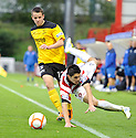 STEPHEN HENDRIE IS UP ENDED BY MARC MCNULTY.09/10/2011  sct_jsp014_hamilton_v_livingston  .Copyright  Pic : James Stewart.James Stewart Photography 19 Carronlea Drive, Falkirk. FK2 8DN      Vat Reg No. 607 6932 25.Telephone      : +44 (0)1324 570291 .Mobile              : +44 (0)7721 416997.E-mail  :  jim@jspa.co.uk.If you require further information then contact Jim Stewart on any of the numbers above.........