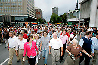 Montreal (Qc) Canada - August 15 2010 - Many polticians and celebrities proudly take part in Montreal Gay Pride annual parade. In photo :Thomas Mulcaire, NDP, Martin Cauchon, Justin Trudeau,  Gerald Tremblay, Mayor of Montreal, Louise Harel