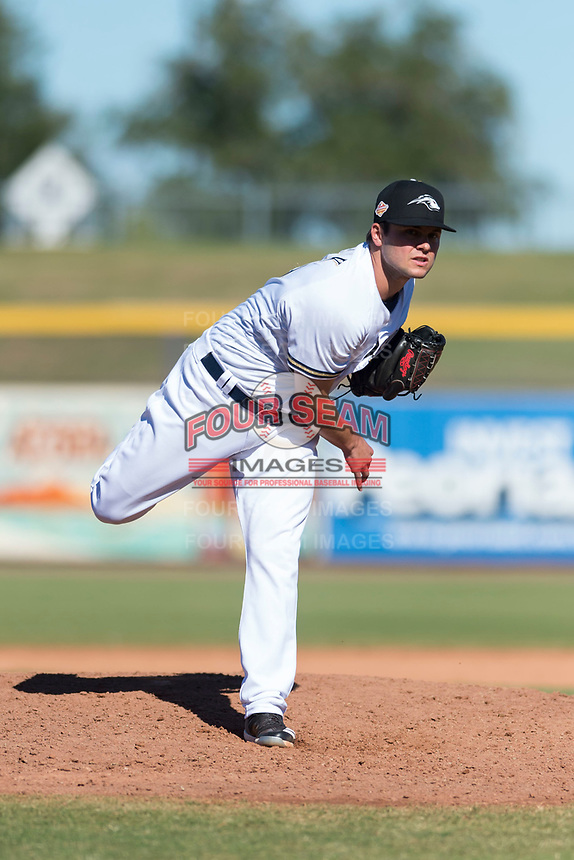 Peoria Javelinas relief pitcher Jon Olczak (29), of the Milwaukee Brewers organization, follows through on his delivery during an Arizona Fall League game against the Scottsdale Scorpions at Peoria Sports Complex on October 18, 2018 in Peoria, Arizona. Scottsdale defeated Peoria 8-0. (Zachary Lucy/Four Seam Images)