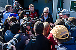 April 30, 2014: Trainer Bob Baffert delivers the announcement that his Kentucky Derby contending horse, Hoppertunity, will not be able to run due to injury at Churchill Downs in Louisville, Kentucky.  Logan Riely/ESW/CSM