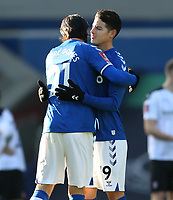 9th January 2021; Goodison Park, Liverpool, Merseyside, England; English FA Cup Football, Everton versus Rotherham United; Andre Gomes of Everton hugs team mate James Rodriguez