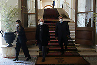 Roberto Cingolani, Minister for Ecological Transition and Enrico Giovannini Minister of Transport, leave the Quirinale after the traditional swearing ceremony for the formation of the new Government. Rome (Italy), February 13th 2021<br /> Photo Samantha Zucchi Insidefoto